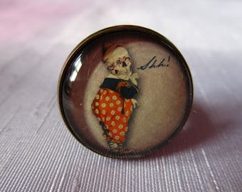"""""""The Clown of Halloween"""", bronze cabochon, costume jewelry ring"""