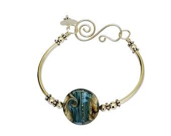 Boho Bangle Sterling Silver Beach Bracelet Sea Glass Jewelry Blue Jewelry Nautical Beach Lover's Gift Ocean Wave Mermaid Jewelry