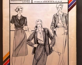 Stretch & Sew 438 pattern, knit fabric, Ann Person, Pocket Closure Skirt, Hip Sizes 30, 32, 34, 36, 38, 40, 42, 44, 46, Vintage 1980, Uncut