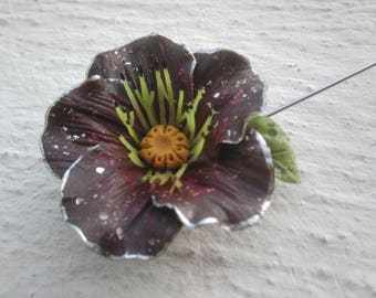 Brooch large Burgundy poppy dark - cold porcelain