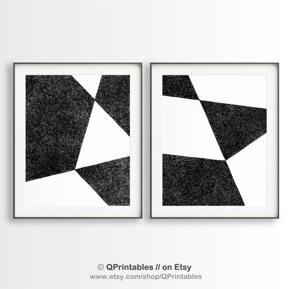 2 geometric drawings set of 2 prints black white diptych triangle art black white prints simple geometric art modern wall art