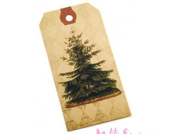 Set of 2 Christmas tree tags, labels scrapbooking card making *.