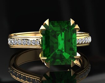 Emerald Engagement Ring 2.00 Carat Emerald Cut Emerald And Diamond Ring In 14k or 18k Yellow Gold. Matching Wedding Band Available W13GY