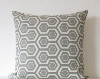 Geometric honeycomb gray throw pillow covers