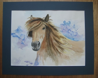 Watercolor Brown Horse/water color brown horse