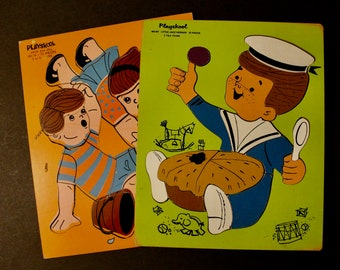 2 Playskool Wooden Puzzles Jack and Jill and Little Jack Horner