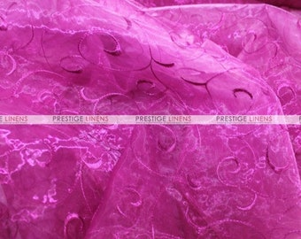 CLOSEOUT FABRIC - Organza Swirl Sheer Flow Dress Apparel - Fuchsia - 3 Yard