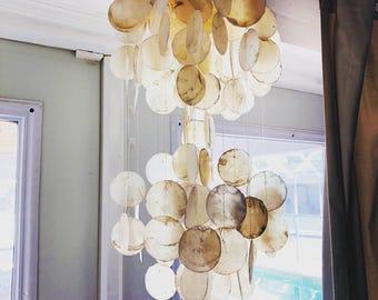 Capiz shell chandelier etsy vintage white capiz shell chandelier aloadofball Images