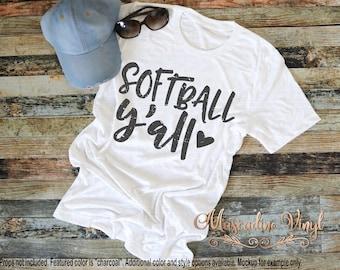SOFTBALL Y'all Unisex T-Shirt - Distressed Baseball Tee