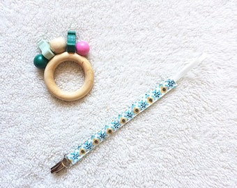 Pacifier clip, cotton, blue and mustard