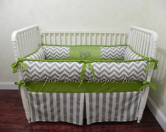 Custom Crib Bedding Set Lars - Boy Baby Bedding, Gray Chevron and Stripes with Lime Green