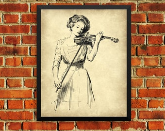 Vintage Lady Woman Playing Violin Art Poster Wall Print - Charles Dana Gibson 1910 - 8x10 or 16x20