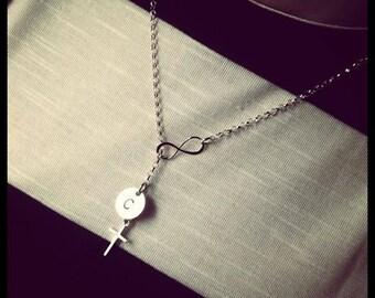 Von Hand gestempelt Schmuck - unendlich - Kreuz Halskette - personalisierte zierliche Halskette - Geschenk für sie - sagen alles Schmuck