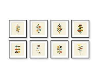Collection of (8) Giclee Prints in Square Format - Mid Century Modern Print Set