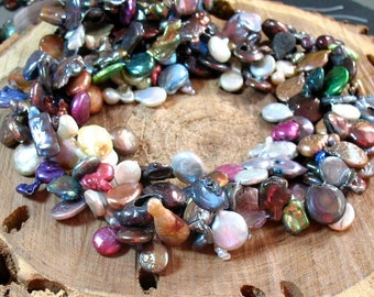 Gorgeous Multi Pearl Statement Necklace Strand Incredible Variety 16 Inches