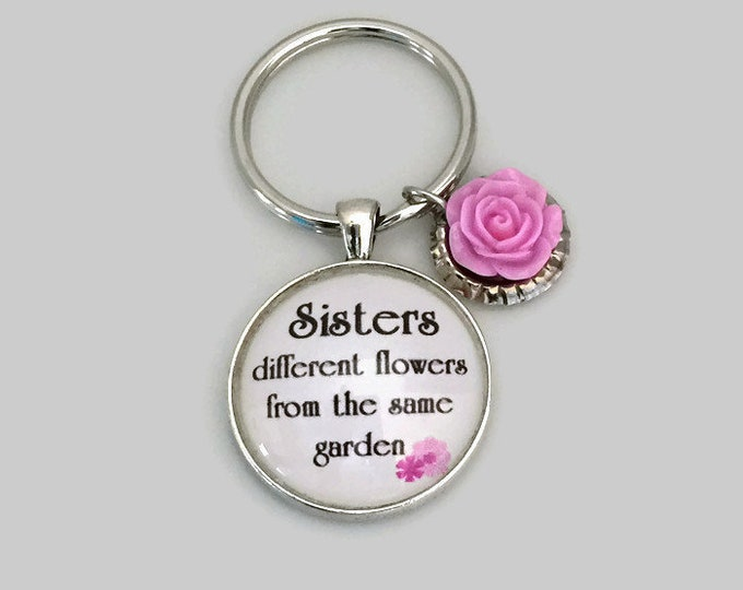 Sister Keychain, Glass and silver with pink rose charm, Different flowers from same garden, Psalm 139:14 You are Beautiful