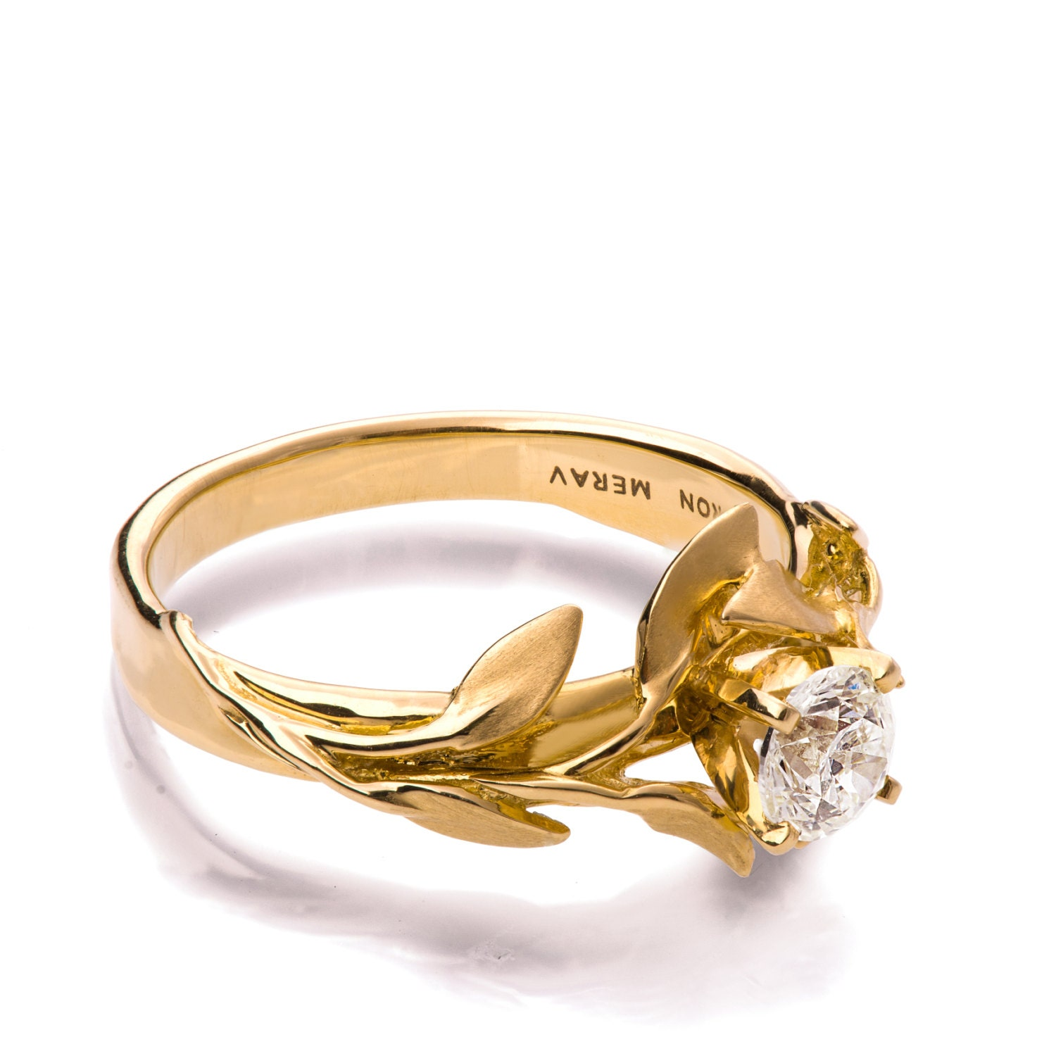 Leaves Engagement Ring No4 18K Yellow Gold and Diamond
