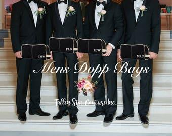 Black Men's Toiletry Bag , Dopp Kit , personalized Men's travel Bag , Groomsman Gift , Groomsmen gift bag, embroidered gifts