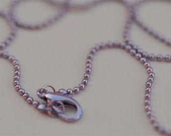 Set of 10.... 20 Inch Petite LOBSTER CLASP Lilac 1.5mm Balls Ball Chain necklace