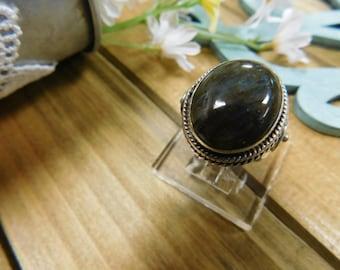 Sterling Silver Large Labradorite Stone Ring Size 7