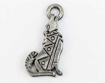 20mm Antique Silver Howling Coyote Charm (2 Pcs) #CHA204