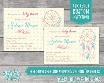 Personalized Watercolor Boho Baby Shower Invitations | Pink, Blue, Twins | 4x6 or 5x7, Digital File or Printed, FREE US Shipping