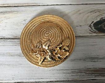 Large vintage sunhat brooch gold tone metal floral bonnet victorian hat pin stra hat textured vintage gardening hat wide brim hat