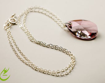 Antique Pink Swarovski Crystal Pear Pendant, Sterling Silver Chain Necklace, Minimalist Style Necklace, Wedding Jewelry, Pink Pendant