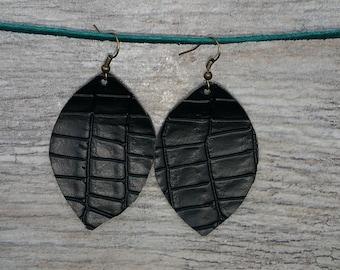 Black Vegan Alligator Faux Leather Tear Drop Rustic Earrings