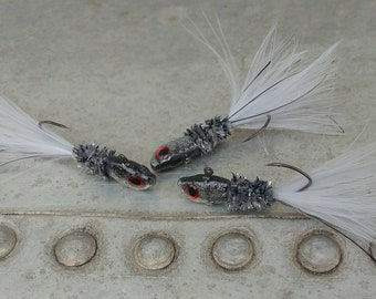 3 Pack Of Hand Tied Crappie Jigs -  3D Eyes -  1/8th Oz. Sickle Hooks - Shiner Heads - Ghost Minnow-  Crappie Crippler Jigs