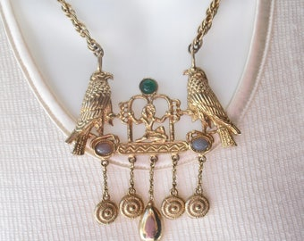 Vintage Accessocraft Egyptian Revival Necklace Eye of Horus Falcons 1960s Jewelry