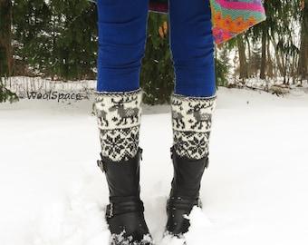 hand knit alpaca boot cuffs women, soft alpaca leg warmers, scandinavian boot cuffs, hand knitted gray wool boot cuffs