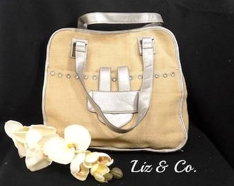 Vintage Liz & Co. - Faux straw  Purse - Tan handbag - upcycled handbag -  shoulder handbag -  shoulder bag ,  # 122
