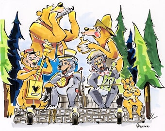 Original sketch The Five Bear Rugs