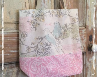 Shopping tote, beach bag, great for the flea market or farmers market, shabby chic , pink with blue birds,large size