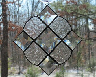 Stained Glass Victorian Suncatcher, Clear Textured Glass with Bevels