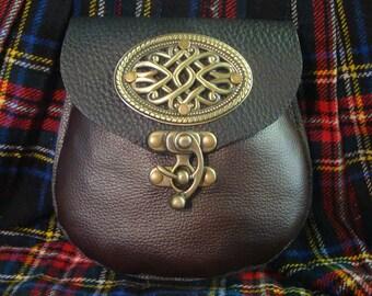 Black and dark brown leather belt pouch  SCA medieval kilt sporran