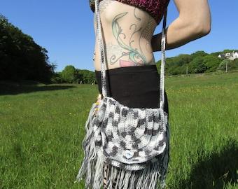 Grey shades beaded fringe shoulder crochet satchel bag
