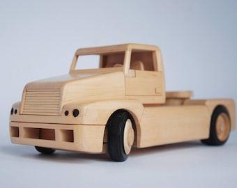 Wooden truck, wooden tractor, wooden car, handmade wooden toys