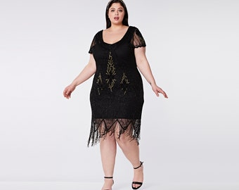 Plus size Black Gold Annette Vintage 20s Flapper Great Gatsby Art Deco Bridesmaid Wedding Guest Black Tie with Sleeves Jazzage Dress