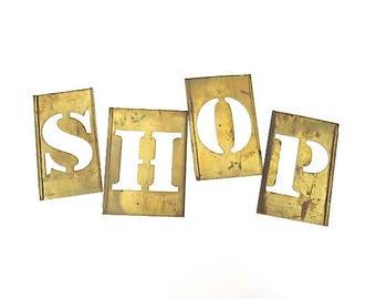 vintage brass stencils ~  shop, big brass stencils. sign letters ~ shop, 4 1/2 inch stencil, word stencils, letter stencils, stencil sign