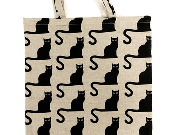 Linen fabric Pocket bag of shopper canvas 'Kitty' (H47 x B37 cm) gift