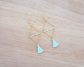 Turquoise Triangle gold earrings with gold end