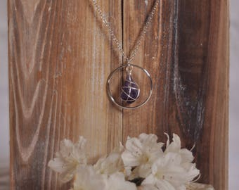 Raw Amethyst Wire Wrap Circle Necklace | Amethyst Crystal Long Necklace | Silver Wire Wrap Amethyst Necklace