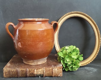 19th century. Antique French Pottery. Antique Confit Pot. Jar. French Provencial. French Country Decor. French Country Kitchen