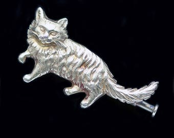 Antique Vintage Retro 18k Yellow Gold Cat Brooch Fluffy Kitty Kat (#5786)