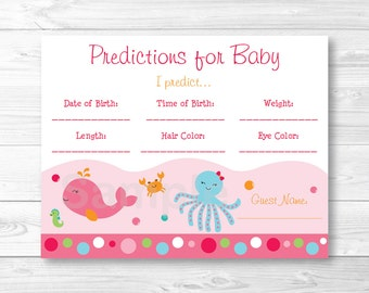 Pink Under the Sea Baby Predictions Baby Shower Game / Octopus / Whale / Crab / INSTANT DOWNLOAD A192