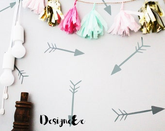 """Wall Stickers - Hand Drawn Arrows - Set of 40 - 2"""" tall by 6"""" wide"""