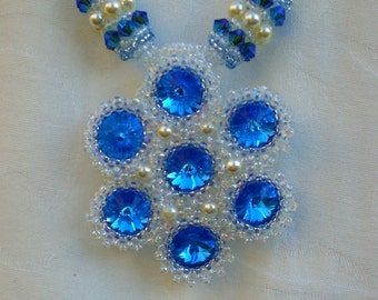 Crystal Sapphire  Blue necklace Unique Jewelry Beadwoven Beaded beadwork Beadweaving
