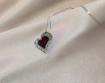 Silver Heart Necklace, Heart Pendant, Enamel Heart, Hammered Pendant, Champlevé Enamel Necklace. Red Enamel. Best Selling Item